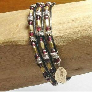 3 for $30 - Garnet Wrap Bracelet
